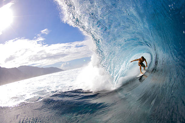 Professional surfer Anthony Walsh gets tubed in Teahupoo.